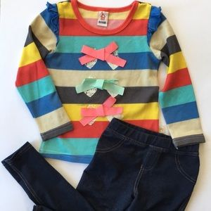 Girls 4T outfit rainbow shirt & jeans jeggings